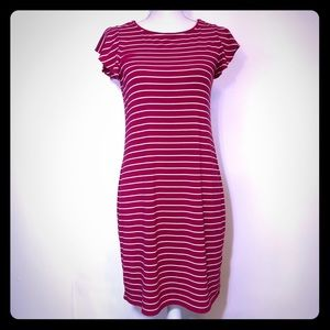 WHBM Red Striped Knit Shirt Dress Size Small